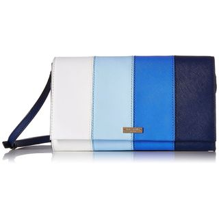 Kate Spade New York Cedar Street Ocean Blue/Multicolor Leather Stripe Cali Convertible Crossbody Handbag