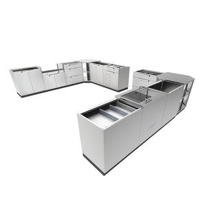 Newage Products Aluminum/Stainless Steel 441-inch x 24-inch 11-piece Outdoor Kitchen