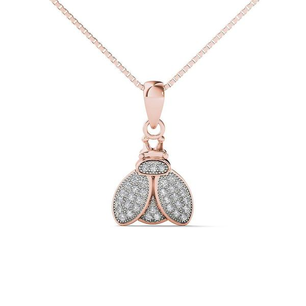 07b9d31f56bdb6 Shop 10k Rose Gold Diamond Accent Bumble Bee Pendant Necklace (H-I ...
