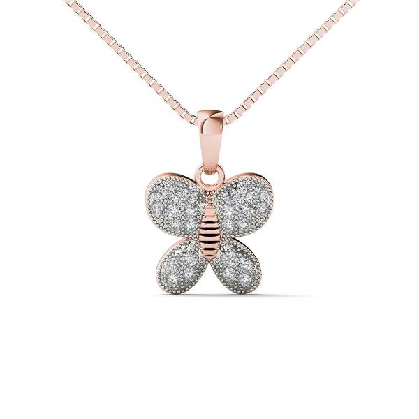 2648b076274e1c Shop AALILLY 10k Rose Gold Diamond Accent Butterfly Pendant Necklace ...