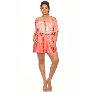 Plus Size Tie Dye Print Short Sleeve Romper with Neck Tie https://ak1.ostkcdn.com/images/products/12126843/P18985169.jpg?impolicy=medium