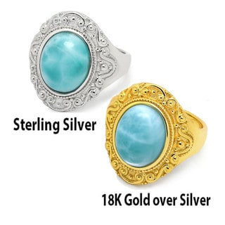 De Buman Sterling Silver or 18k Gold over Silver Natural Larimar Gemstone Ring