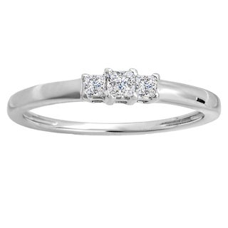 14k White Gold 1/4ct TW Princess Diamond Bridal 3-stone Engagement Ring (H-I, I1-I2)