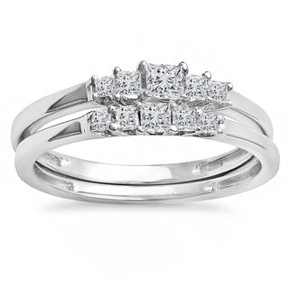 10k white gold 12ct tw princess diamond 5 stone bridal engagement ring matching - Affordable Diamond Wedding Rings