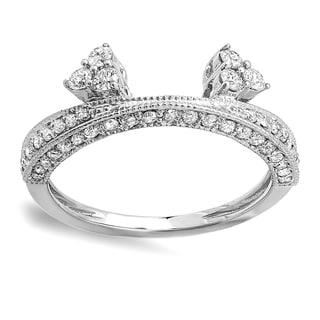 14K White Gold 1/2 ct. TDW Round Diamond Ladies Anniversary Wedding Band Enhancer Guard (H-I, I1-I2)