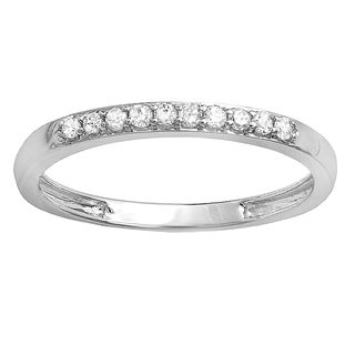 Elora 10k Gold 1/6ct TDW Round Diamond Anniversary Stackable Ring (I-J and I2-I3)