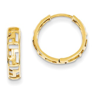 Versil 14k Yellow Gold Greek Key Hinged Hoop Earrings