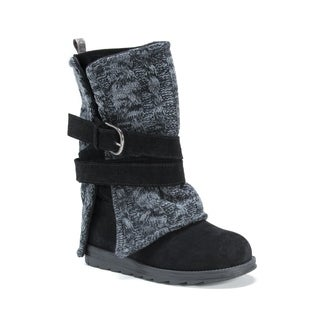 MUK LUKS Women's Nevia Black Wool/Faux Suede Mid-calf Boots