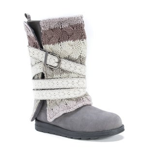 Muk Luks Women's Nevia Grey Wool/Polyester/Faux Suede Boots