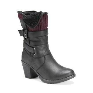 Muk Luks Women's Belle Black Polyester/Faux Suede Boots