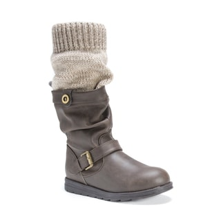 Muk Luks Women's Dalis Brown Polyester/Polyurethane/Faux Leather Boots