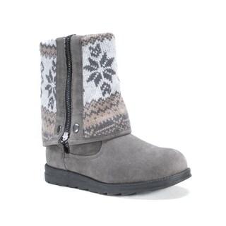 MUK LUKS Women's Jayla Grey Faux Suede Boots