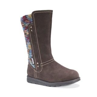 Muk Luks Women's Lilah Brown Polyester Mid-Calf Boots