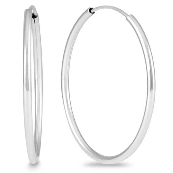 Marquee Jewels 14k White Gold 25-millimeter Hoop Earrings. Opens flyout.