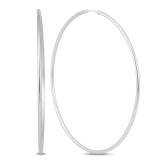 Marquee Jewels 14k White Gold 80-millimeter Hoop Earrings