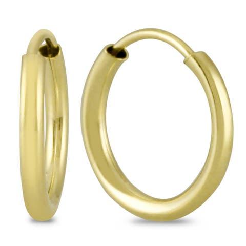 Marquee Jewels 14k Yellow Gold 10-millimeter Hoop Earrings
