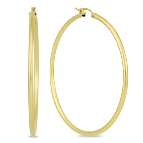 Marque Jewels 14K Yellow Gold Filled Hoop Earrings (55mm)