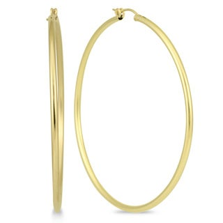 Marquee Jewels 14k Yellow Gold 62-millimeter Filled Hoop Earrings