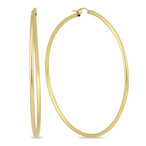 Marquee Jewels 14k Yellow Gold 76-millimeter Filled Hoop Earrings