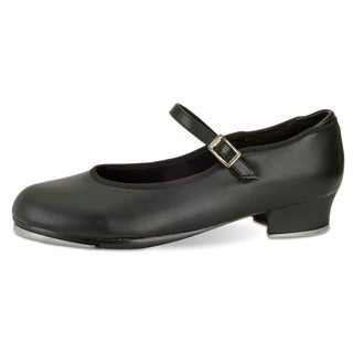 Danshuz Women's Value Tan/Black Synthetic Leather Strap Tap Shoes