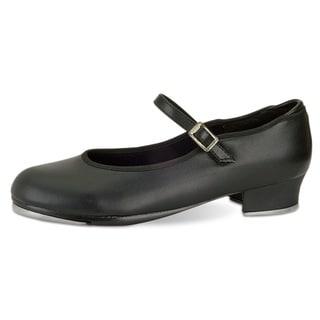 Danshuz Women's Value Tan/Black Synthetic Leather Strap Tap Shoes