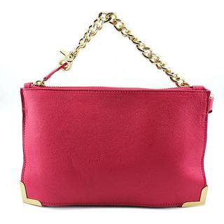 Foley + Corinna Women's Pink Leather Framed Wristlet Clutch Handbag
