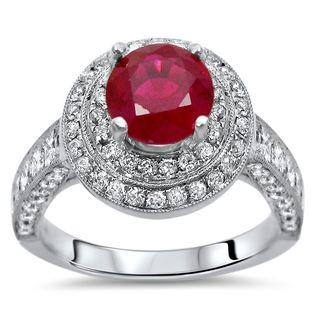 Noori 2ct TGW Ruby Diamond Double Halo Engagement Ring 18k White Gold (SI1/SI2, G/H) - Red