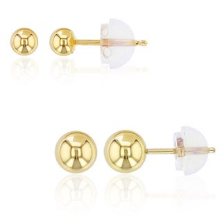 Decadence 14k Gold Stud Earring Set with 14k Silicone Backs