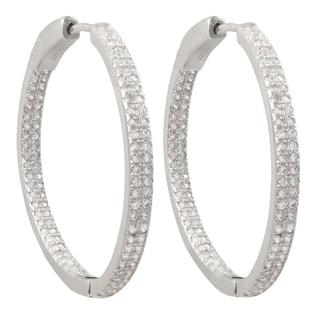 Luxiro Sterling Silver Two-row Micropave Cubic Zirconia 35-mm Hoop Earrings