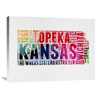 Naxart Studio 'Kansas Watercolor Word Cloud' Stretched Canvas Wall Art