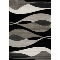 Plait Black/ Grey Drifts Rug (7'10 x 10'10) - 7'10 x 10'10