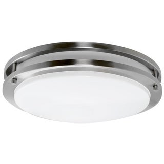 Y-Decor 'Euro' Satin Nickel Finish Steel Flush Mount Fluorescent Ceiling Light Fixture with Decorative Glass