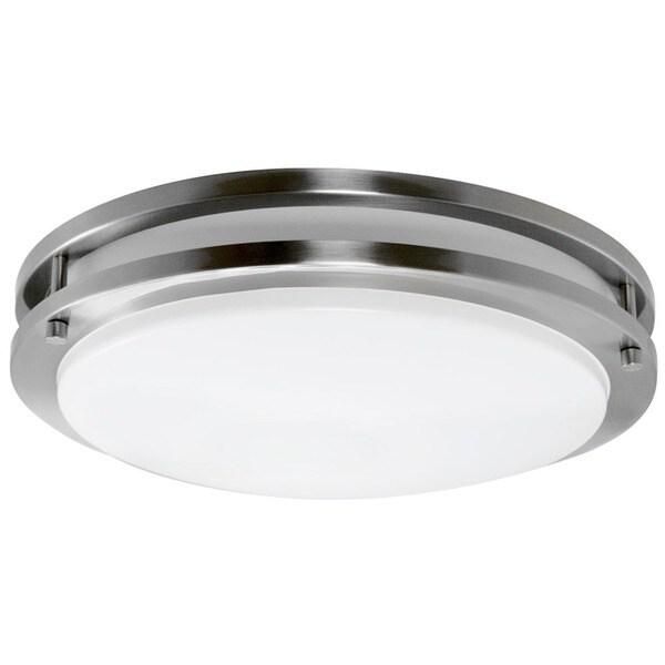 Y decor euro satin nickel finish steel flush mount fluorescent y decor x27eurox27 satin nickel finish steel flush aloadofball Images