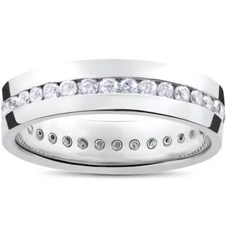Men's 14k White Gold 1 1/4ct Diamond Channel Set Eternity Wedding Band