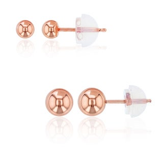 Decadence 14k Rose Gold 3-millimter & 5-millimeter Ball Stud Set with Silicone Backs