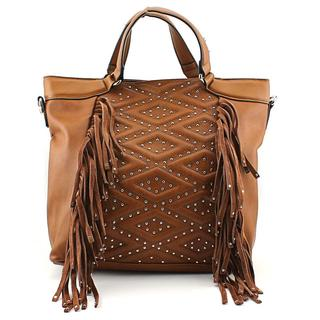 French Connection Women's Cassidy Satchel Brown Leather Handbag