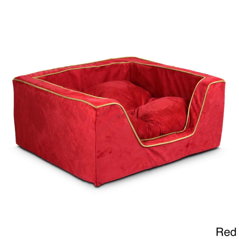 Snoozer Luxury Multicolored Microfiber Square Dog Bed (La...