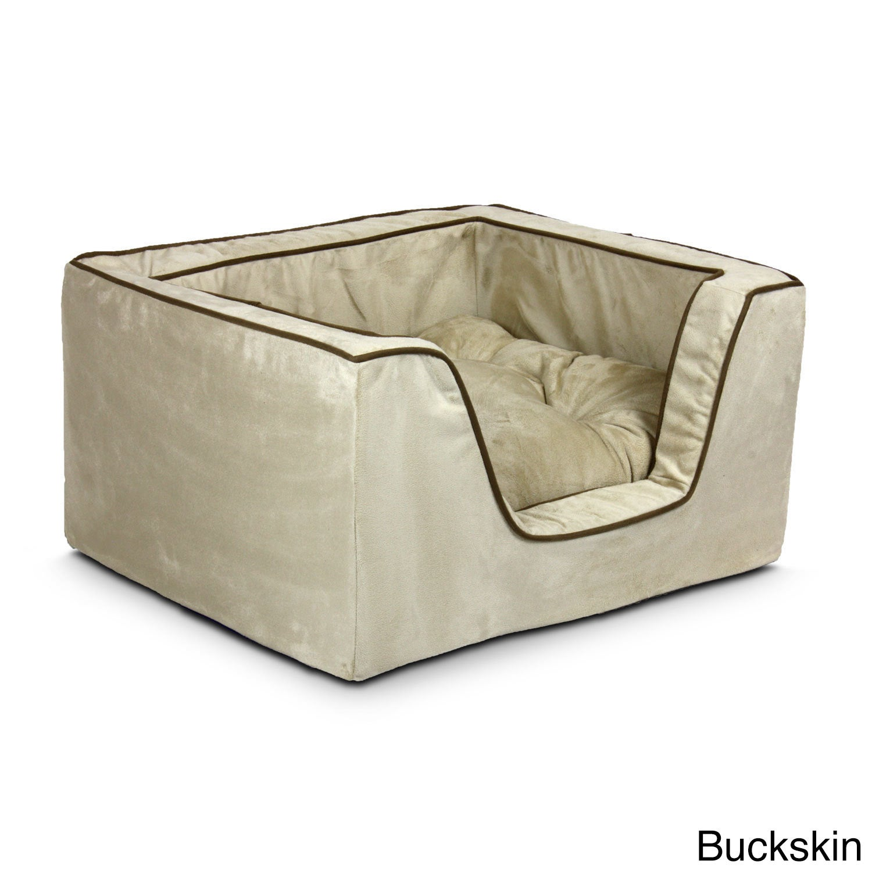 Snoozer Luxury Multicolored Microfiber Square Dog Bed (Me...