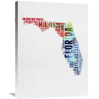 Naxart Studio 'Florida Watercolor Word Cloud' Stretched Canvas Wall Art