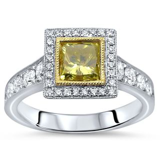 Noori 14k White Gold 1 3/5ct TDW Canary Yellow Princess-cut Diamond Engagement Ring (F-G, SI1-SI2)