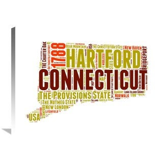 Naxart Studio 'Connecticut Word Cloud Map' Stretched Canvas Wall Art