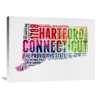Naxart Studio 'Connecticut Watercolor Word Cloud' Stretched Canvas Wall Art