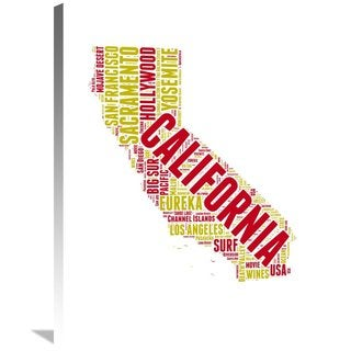 Naxart Studio 'California Word Cloud Map' Stretched Canvas Wall Art