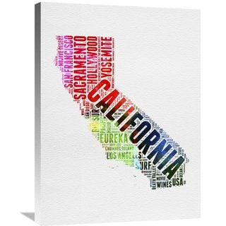 Naxart Studio 'California Watercolor Word Cloud' Stretched Canvas Wall Art