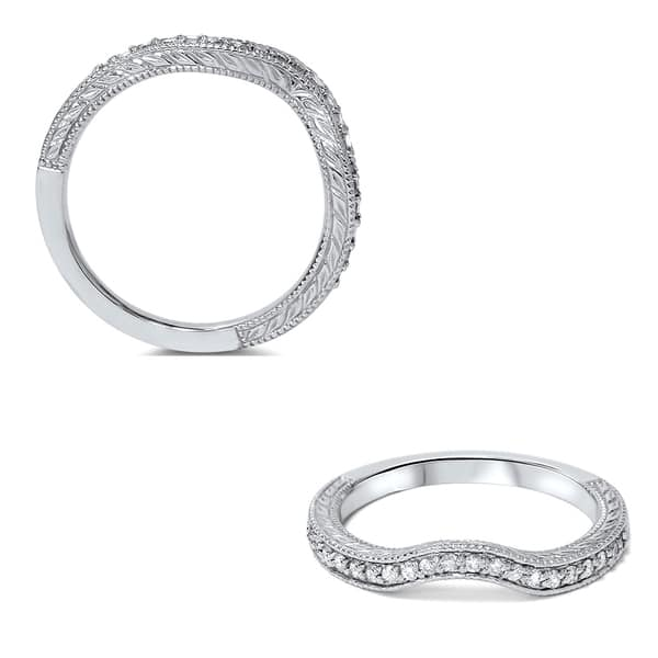 0.40 CT Round Cut VVS1 D Diamond Curved Matching Wedding Band,14k White Gold Finish Curved Ring Enhancer Stackable Band-Simple Dainty Band