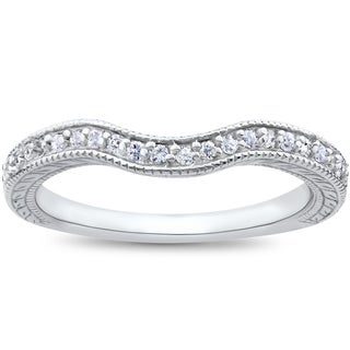 14k White Gold 1/6ct Vintage Curved Diamond Contour Wedding Band for Engagement Ring