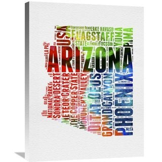 Naxart Studio 'Arizona Watercolor Word Cloud' Stretched Canvas Wall Art