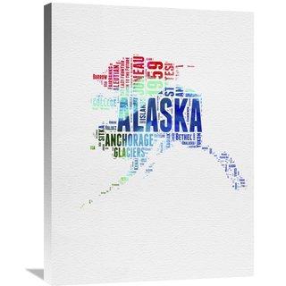 Naxart Studio 'Alaska Watercolor Word Cloud' Stretched Canvas Wall Art
