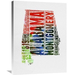 Naxart Studio 'Alabama Watercolor Word Cloud' Stretched Canvas Wall Art