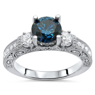 Noori 14k White Gold 1 1/4ct TDW Certified Blue and White Diamond Engagement Ring (F-G, SI1-SI2)